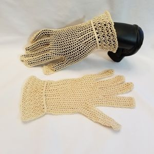 Vintage Crocheted Evening Gloves